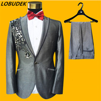 Forma Men's Gray Embroidery Sequins Blazers Suits Wedding Groom Tuxedo Suit Male Singer Host Chorus Performance Stage Costumes