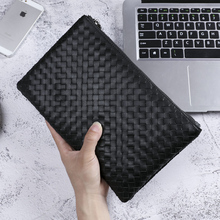 цена на BAQI Brand Men Wallets Clutch Bag Genuine Leather Cowhide Hand Knit Men Handbag BV 2019 Fashion High Quality Ipad Bag Men Casual