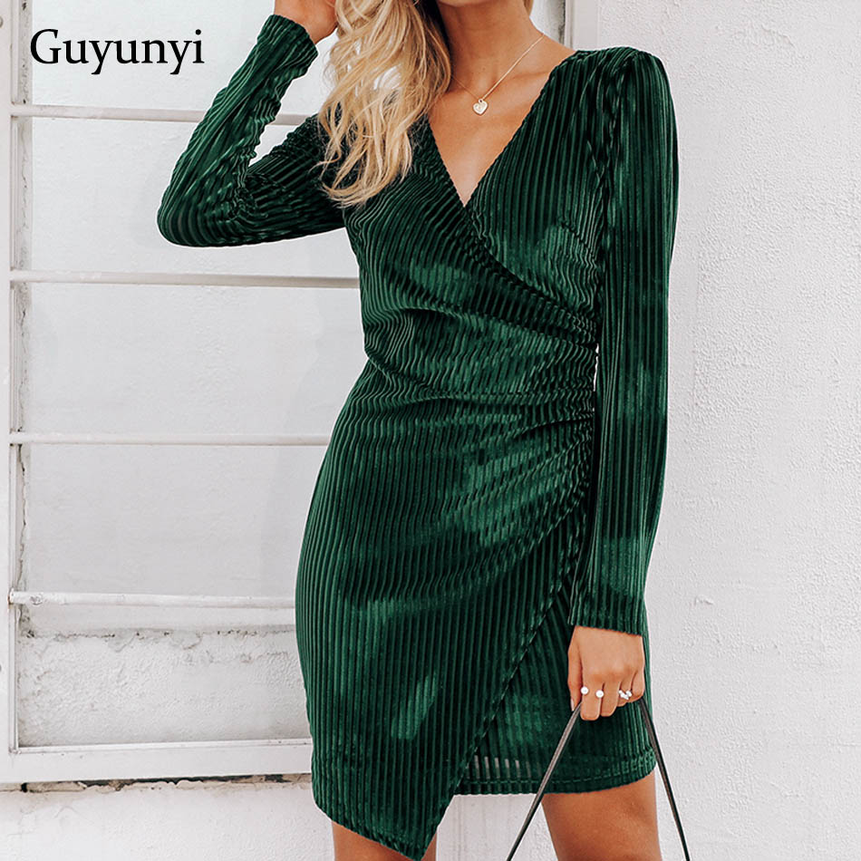 Stretch Tight Velvet Dress Party 2019 Spring And Autumn New Sexy V-neck Green Striped Mini Dress Simple Female Clothing