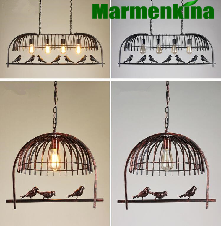 Creative green plants bird chandelier retro industrial wind restaurant bar clothing store Iron bird cage lights.E27,AC:110-240V. indoor lighting bird cage restaurant cafe bar desk study chandelier retro bird balcony chandelier