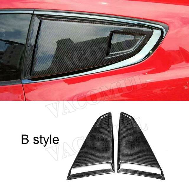 Carbon fiber 2PCS car side window air intake trims Vent Decoration for Ford Mustang 2015 2016 2017 2018 car styling