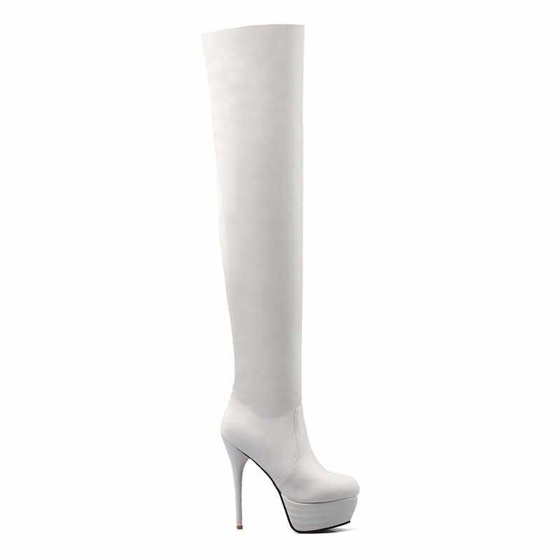 MEMUNIA 2020 süper ince yüksek topuklu platform ayakkabılar kadınlar diz çizmeler üzerinde seksi ince sonbahar kış uyluk yüksek çizmeler kadın