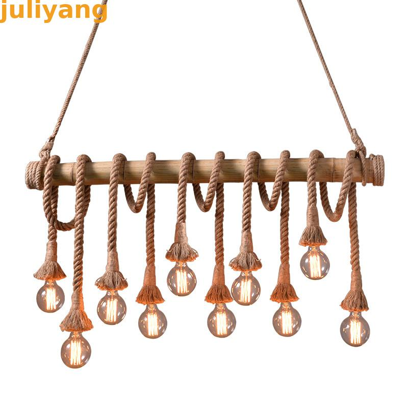 Vintage Rope Pendant Lights Lamp Personality Loft Lights Hemp Rope bamboo lamp for Kitchen Cafe Bar