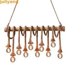 Luzes pendentes de corda vintage, lâmpada de bambu para cozinha, para bar e decoração