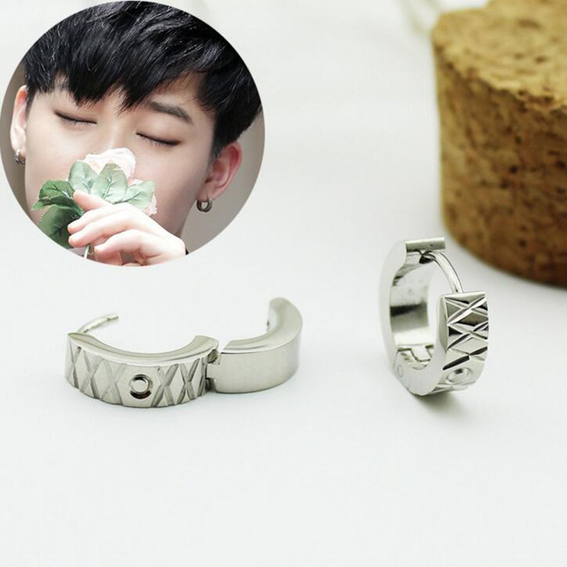 2PCS/lot Korea POP BTS Bangtan Boys JIN JIMIN Titanium Steel Stud Earrings For Women Men Jewelry Brinco