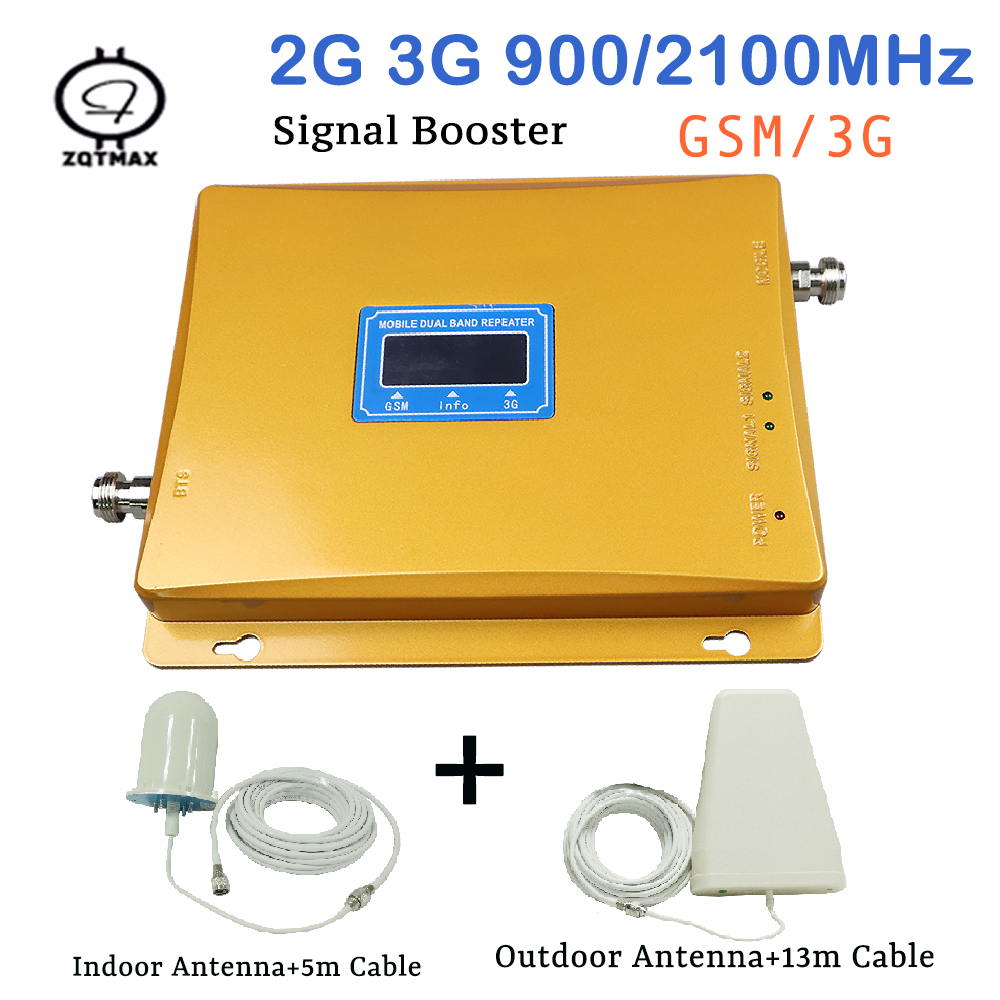 GSM 2G 3G Repeater Dual Band GSM 900 WCDMA 2100 Cellular Signal Booster Cellphone Amplifier 900mhz 2100mhz Mobile UMTS Repeater