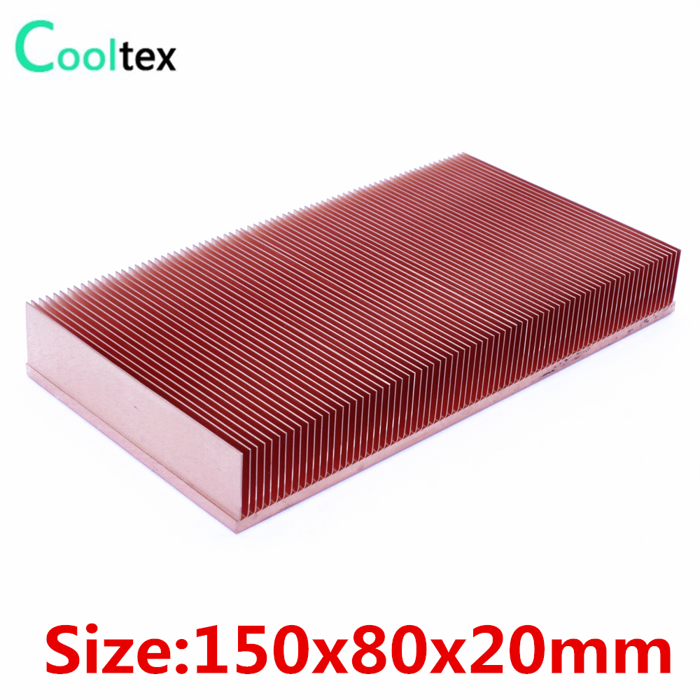 2017 new 150x80x20mm Pure Copper Heatsink Radiator Skiving Fin Heat Sink for electronic Chip LED Power Amplifier cooling cooler 75 29 3 15 2mm pure copper radiator copper cooling fins copper fin can be diy longer heat sink radiactor fin coliing fin