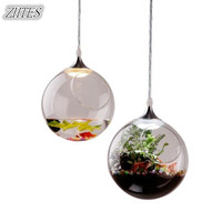 LED Glass Ball Chandelier Modern Simple And Creative Restaurant Decoration Art Plant Potted Three Head Chandelier