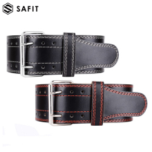 SaFit Leather Weightlifting Belt Powerlifting, Gym, CrossFit, Exercise Back Support Squats, Power Cleans Heavy Duty Men Women
