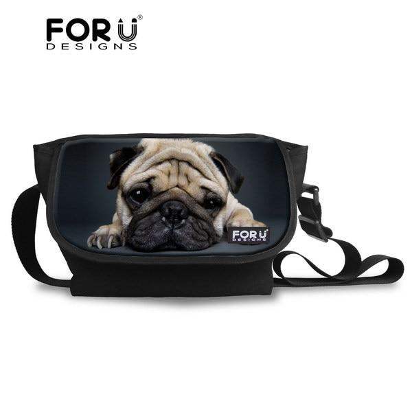 FORUDESIGNS Animal Pug Dog Messenger Bag Cross body Bag for Women Vintage Teenager Girls Travel Messenger