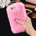 5S 6 s 7 além disso bling rhinestone real da pele do coelho capa para iphone 5 5S SE 6 6 S Plus 7 mais Fofo Macio À Prova de Choque Caso de Telefone Coque
