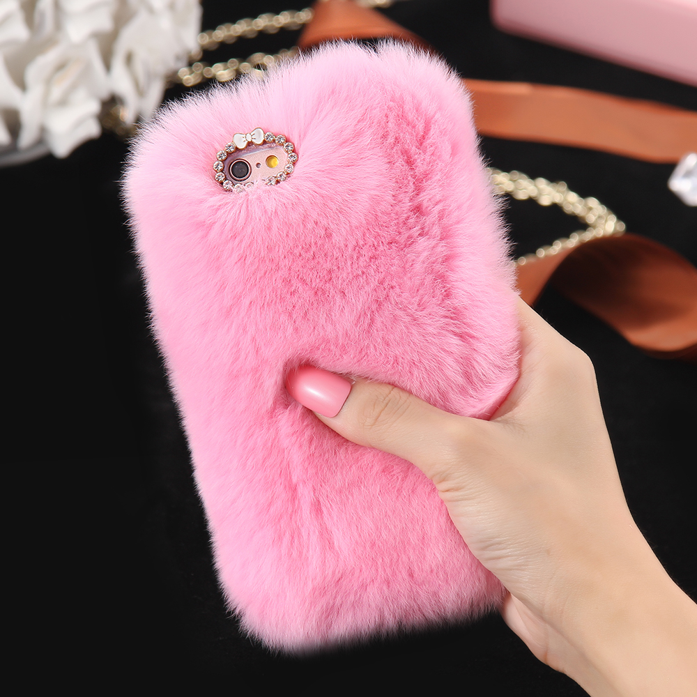 5s 6s 7 plus bling rhinestone real rabbit fur cover for. Black Bedroom Furniture Sets. Home Design Ideas