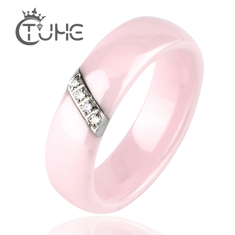Fashion Pink Ceramic Rings For Women Smooth Surface Inlaid Zircon Women Ring Stainless Steel Wedding Engagement Gift bague femme