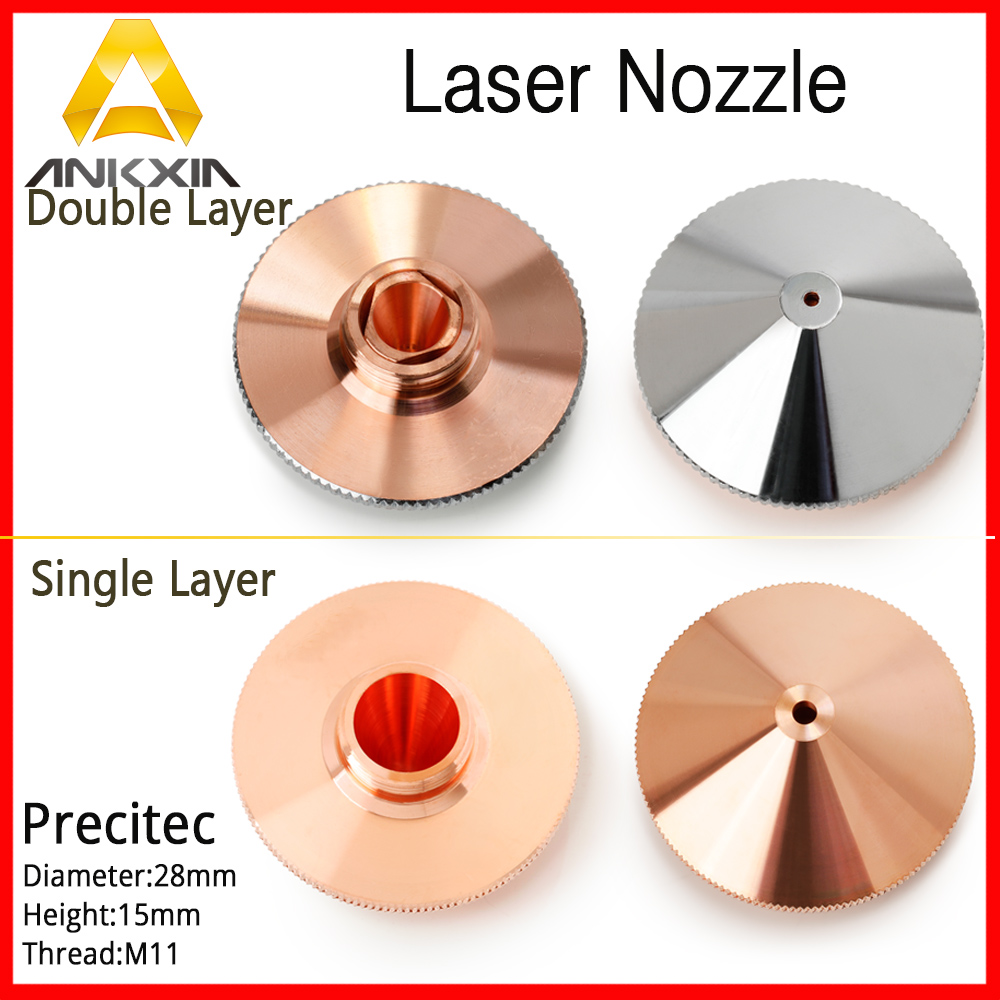 Precitec Nozzle High Pressure Double Layer 1.0/1.2/1.5/2.0/2.5/3.0/3.5/4.0 D28 H15 Fiber Laser Cutting Machine P0591-571-0001