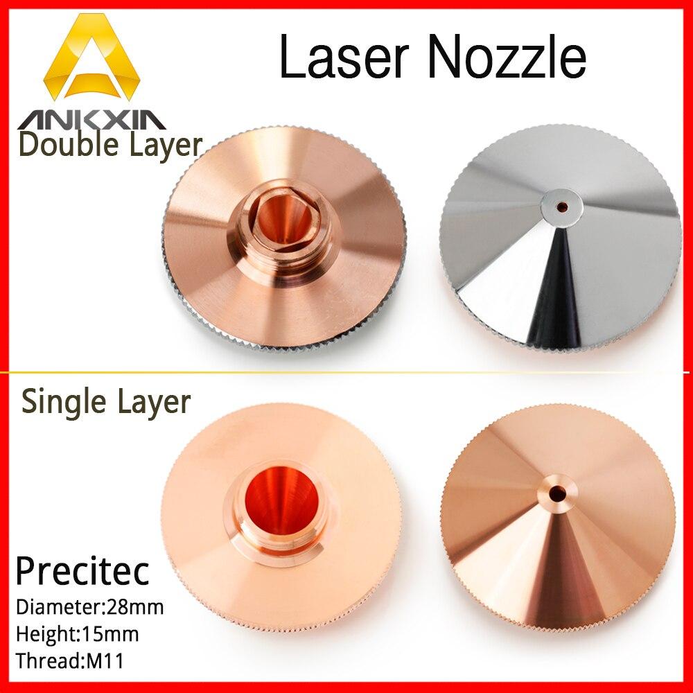 Precitec Nozzle High Pressure Double Layer 1.0/1.2/1.5/2.0/2.5/3.0/3.5/4.0 D28 H15 Fiber Laser Cutting Machine P0591-571-0001