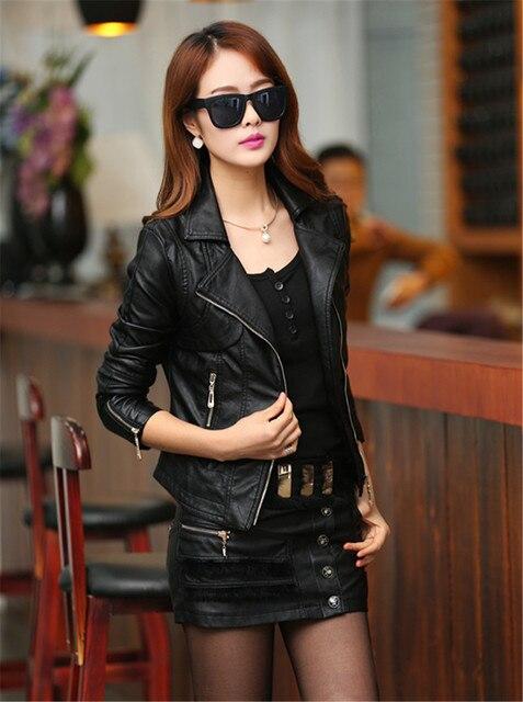2015 PU LeatherJacket Women Spring Fashion Slim Zipper Short Coat European And American Style Black jaqueta de couro feminina