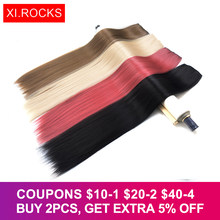 Xi.Rocks 70cm Long Straight Hair On Hairpins False Hair Extension Clip Natural Ombre Black Light Brown Synthetic Extensions(China)
