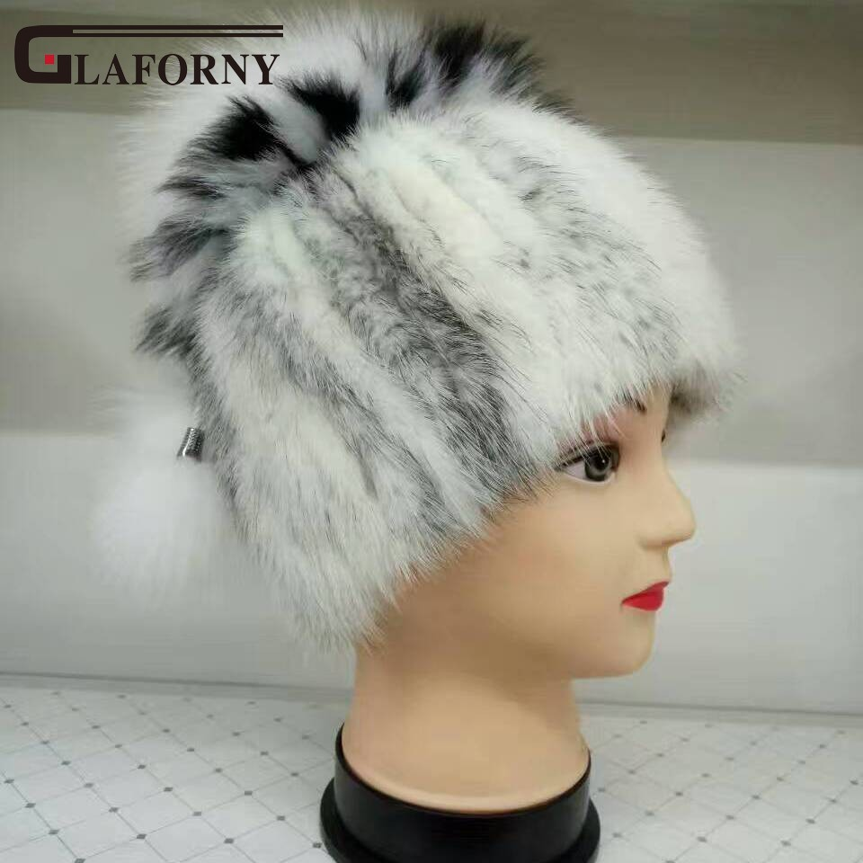 Glaforny 2018 New Style Genuine Mink Fur Hats Women Knitted Fur Beanies with Silver Fox Fur Pompoms 100% Real Mink Skullies Warm