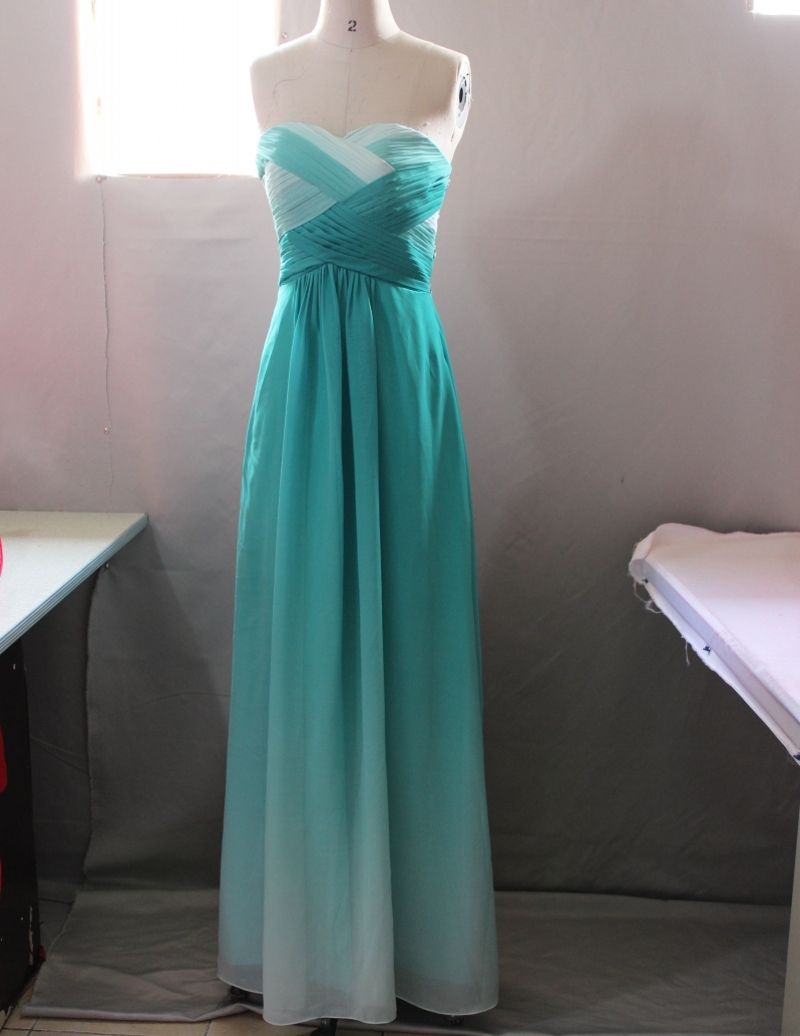 Fashionable Ombre Dress Gradual Changing Color Dark Green Long Prom ...