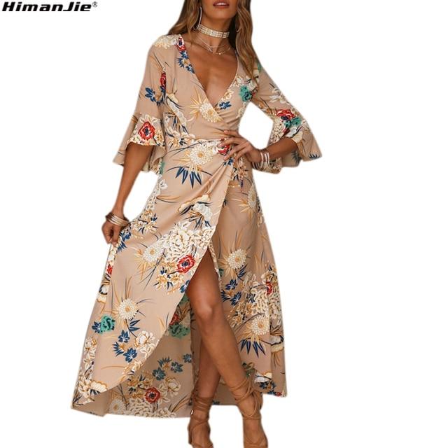 063814b9ee368 US $13.51 35% OFF|Women Chiffon Floral Print Boho Dress Sexy Deep V Neck  Travel Beach Long Dress Flare Sleeve 2018 Asymmetric Hem Summer Dresses-in  ...