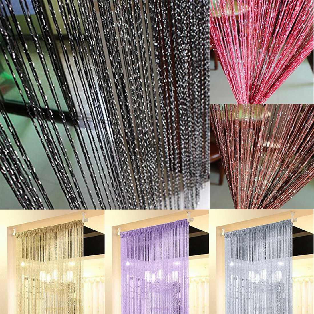 DIDIHOU 200x100cm Modern Cute Flash Line Shiny Tassel String Door Curtain Window Room Divider Curtain Valance Home Decoration
