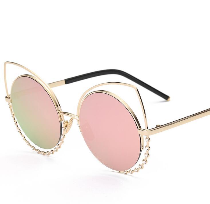 New So Luxury Summer Style Round Cateye Sun Glasses Men Women Brand Designer Sunglass Points Real Cat Eye Sunglasses steampunk