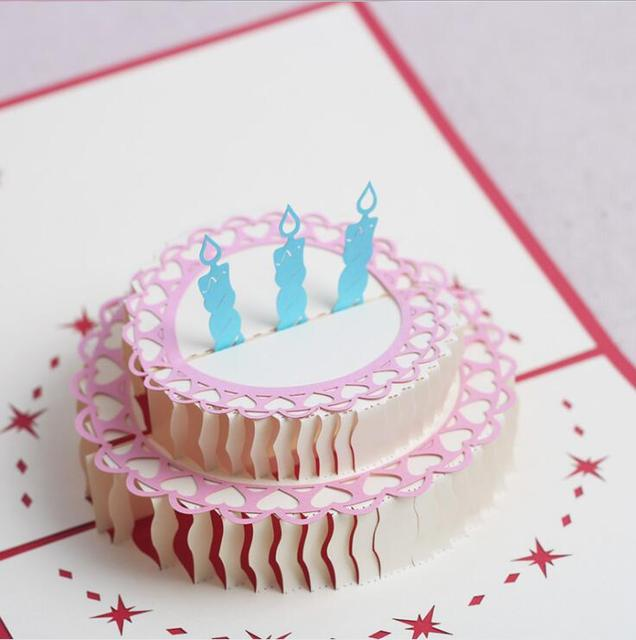 Birthday greeting card handmade party invitation 3d cake delicate birthday greeting card handmade party invitation 3d cake delicate carved pattern invitation card 3d paper craft m4hsunfo