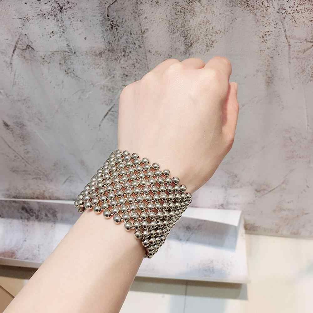 M MISM INS Hot Full Pearls Bracelet Women Handmade Bangles Fashion Vintage White Gold Silver Pearls jewelry Gift for Girls