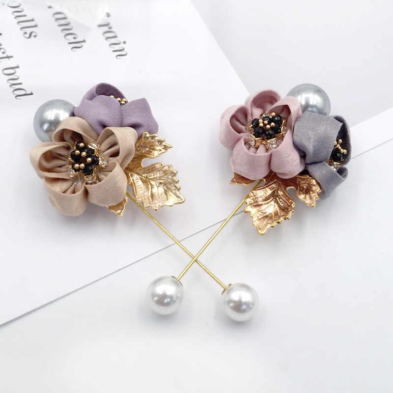Aku-Remiel Wanita Kain Seni Mutiara Kain Bunga Bros Pin Cardigan Kemeja Selendang Pin Profesional Mantel Lencana Perhiasan Aksesoris