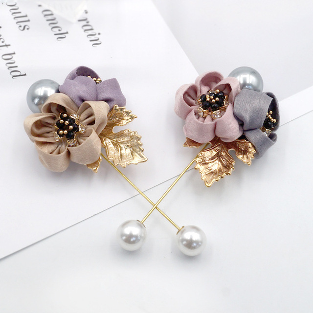 Ladies Cloth Art Pearl Fabric Flower Brooch Pin Cardigan Shirt Shawl Pin Professional Coat Badge Jewelry Accessories