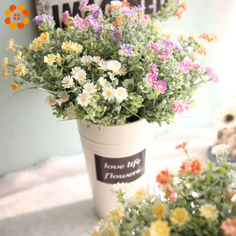 1PC Artificial Flowers Daisy Flower with Green Plants Grass European Floral Plastic Flowers for Home Wedding Table Decoration in Artificial Dried Flowers from Home Garden