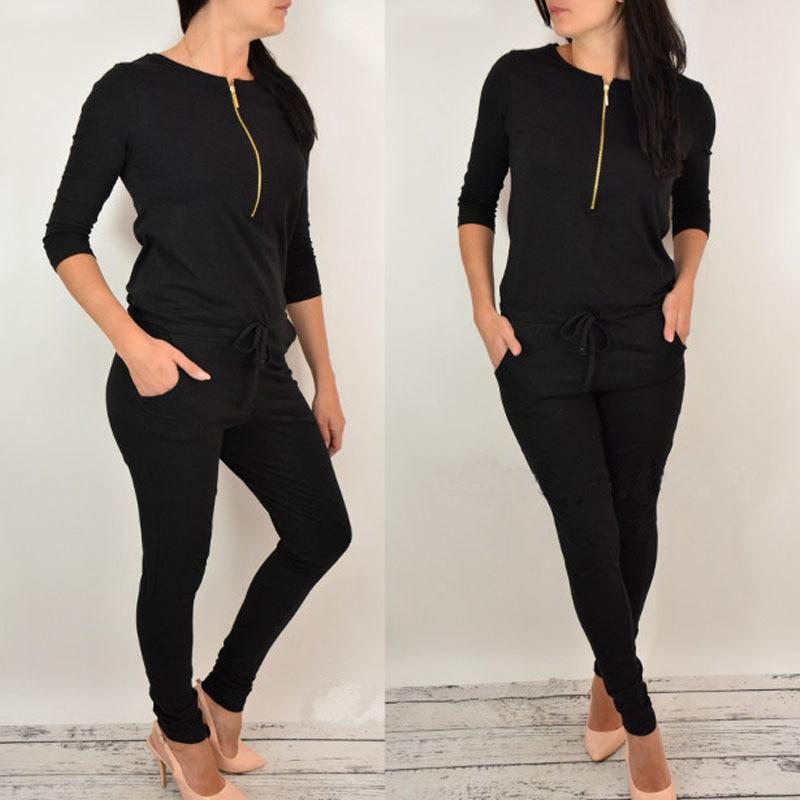 Women Long Sleeve  Mid Waist Black Gray Cotton Thin  Zipper  Jumsuit Rompers Casual Jumpsuit For Ladies Female 2017 #4