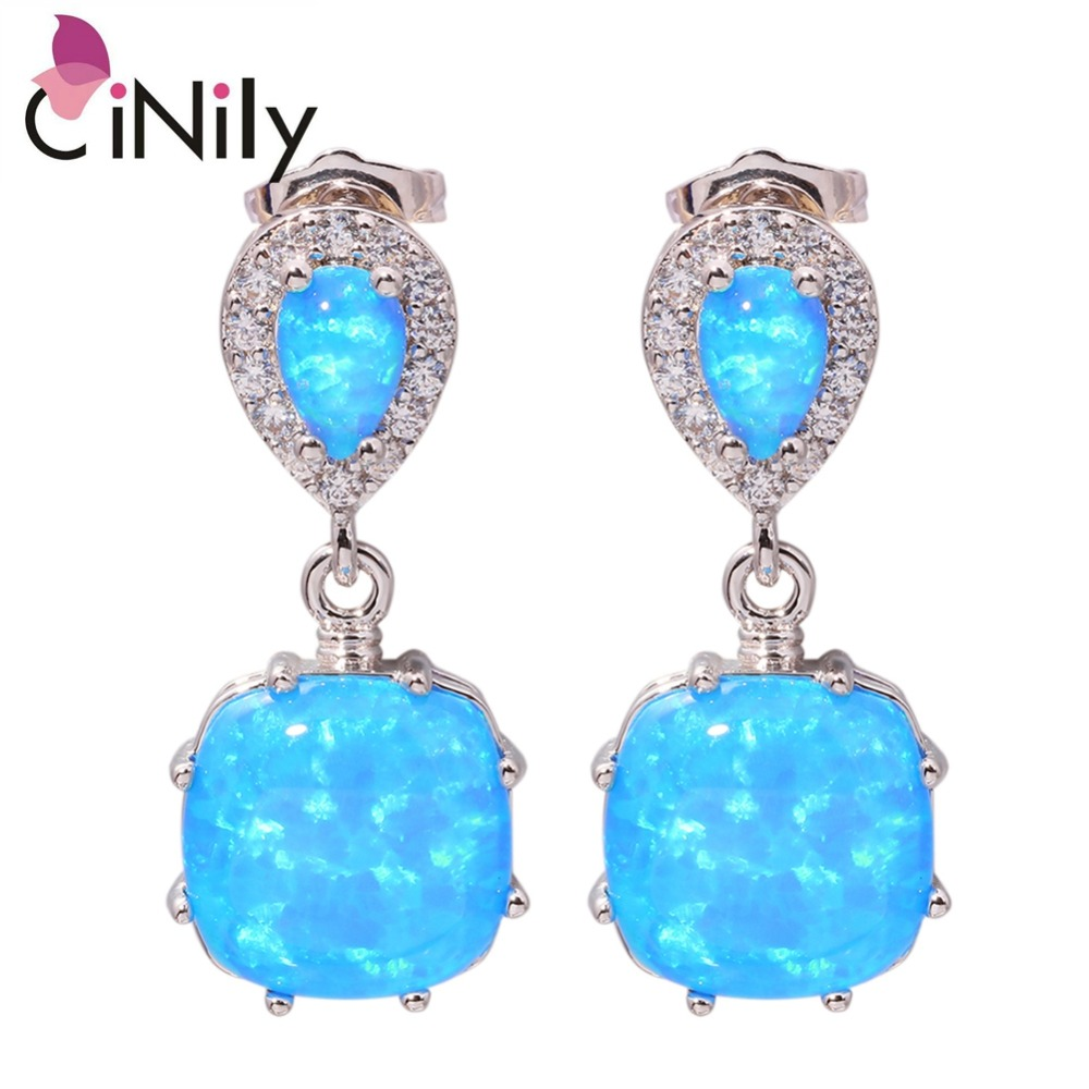 Blue Fire Opal Cubic Zirconia Silver Earrings Wholesale Retail Hot Sell For Women Jewelry Stud Earrings
