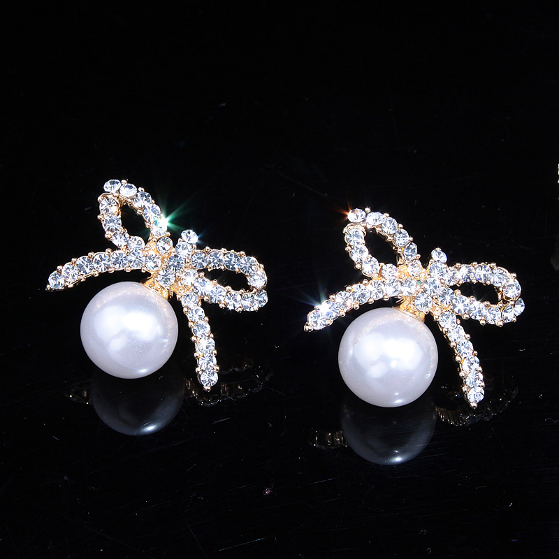 Charm Cute Rhinestone Bow Earrings Plated Elegant Pearl Earrings for Women Fashion Jewelry