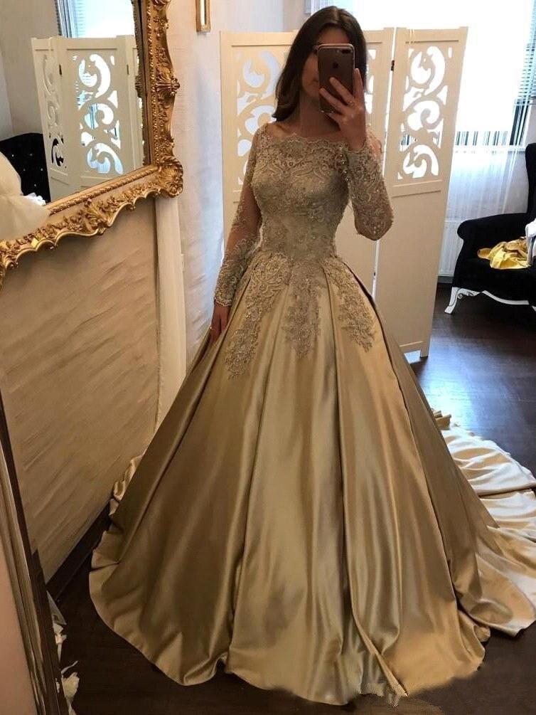 Dentelle dorée Appliques longue robe de soirée 2019 la mariée Sexy à manches longues perles fête robes formelles personnalisé grande taille - 2