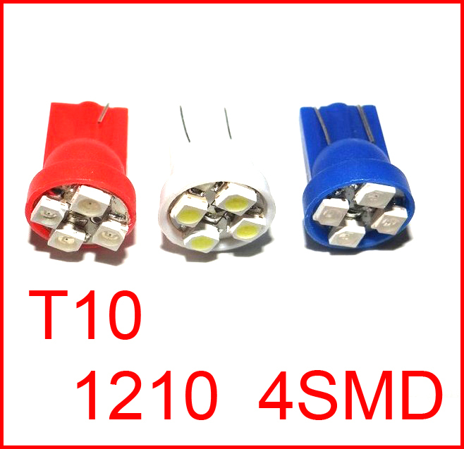 Whole Sale car led auto led w5w 194 4SMD T10 4smd 4LED 4 LED smd 3528 1210 Wedge lamp Bulbs Car Side Indicator Light 1000pcs/lot