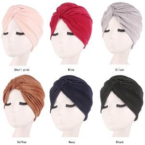 Image 1 - Casquette en Satin pour femmes musulmanes, Turban pour dormir, couvre chef, bonnet pour patients atteints de Cancer, accessoires de perte de cheveux