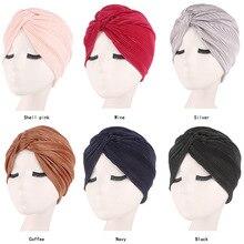 Mulheres muçulmanas cetim cruz plissado quimio sono turbante headwear cachecol gorro chapéu para câncer paciente perda de cabelo acessórios