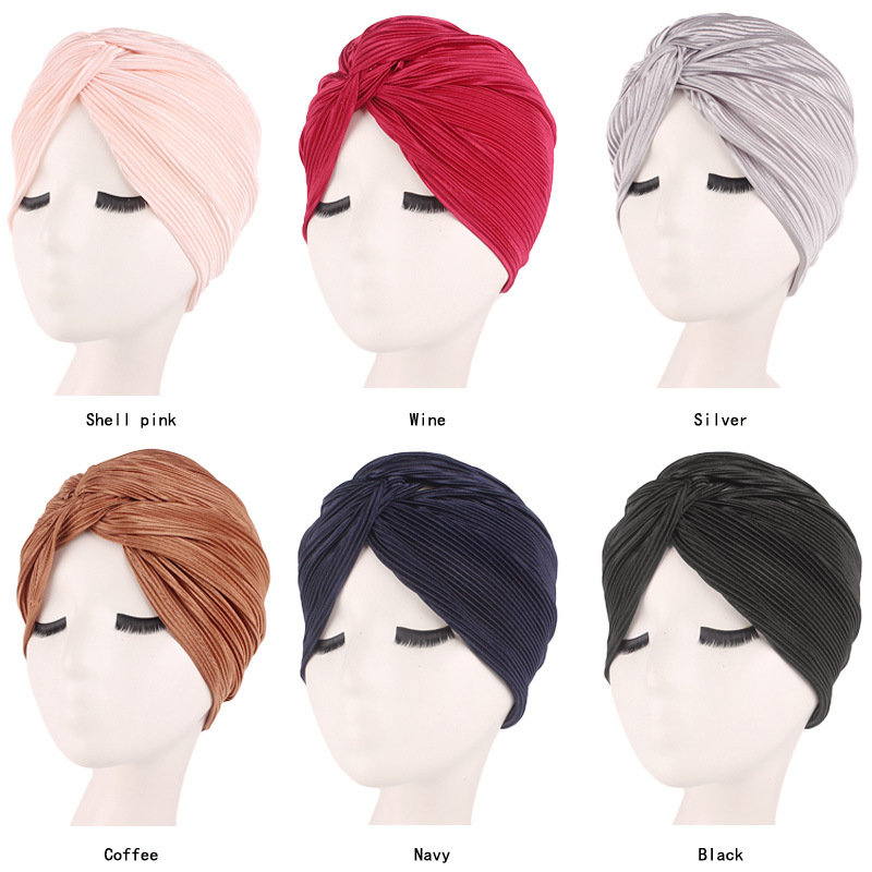 Muslim Women Satin Cross Ruffle Chemo Sleep Turban Headwear Scarf Beanie Cap Hat For Cancer Patient Hair Loss Accessories