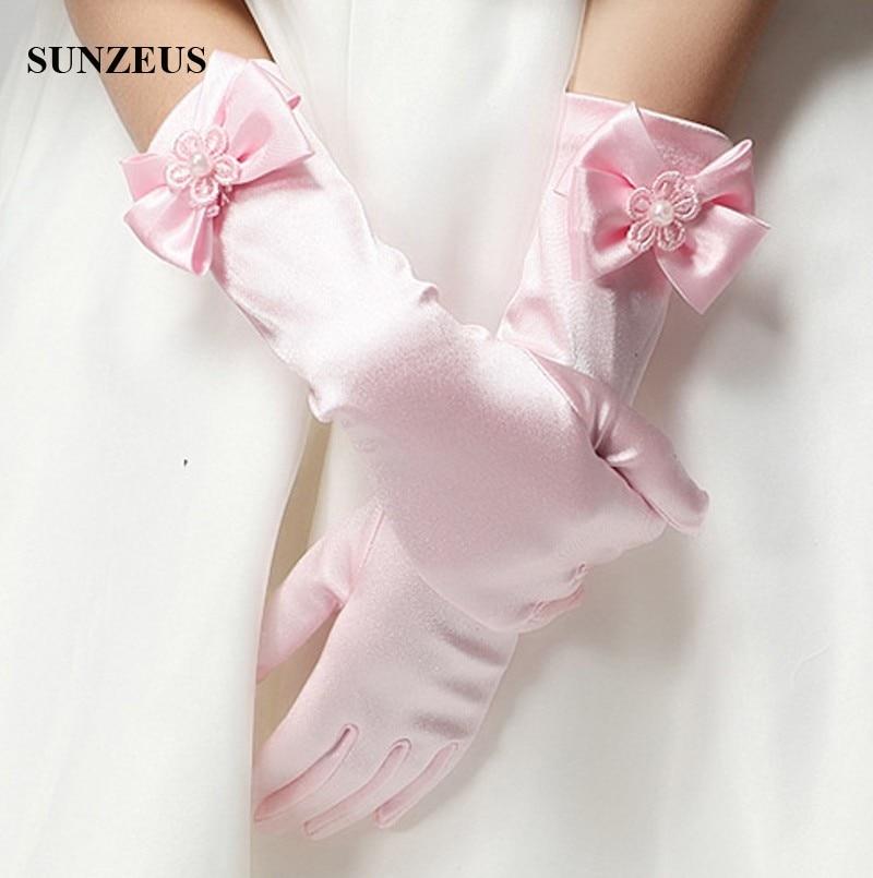 Long Satin Gloves For Children Finger Wedding Party Gloves For Flower Girls WhiteIvoryRedPinkBlack BV-016