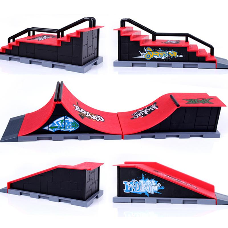 Kids Skate Park Plastic ABS Skate Park Funny Game Toy Gift Ramp Parts Finger Sports for Fingerboard Finger Skateboard 3 Styles