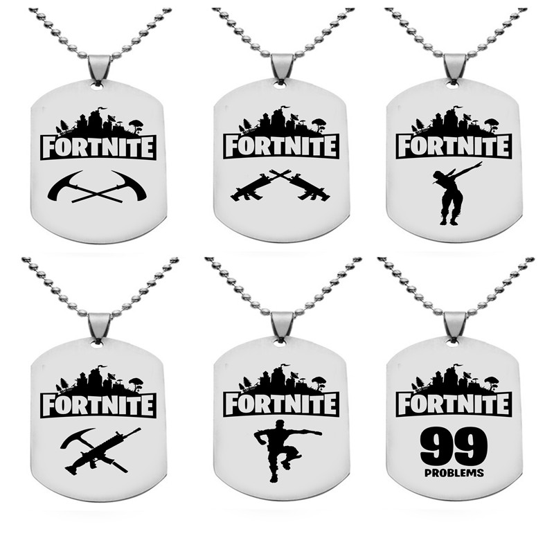 HSIC 8 Styles PUBG Fortnite Necklace Metal Dog Tag Fashion Pendants Necklace FPS Game Jewelry Friendship Men Accessory HC12870