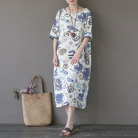 Brand Design Cotton Print O Neck Women Long Dress Chinese Style Loose Casual Summer Dress Kawaii
