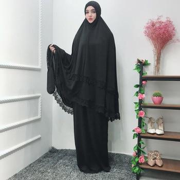 Long Hijab Prayer Dress Black Kaftan Jilbab Robes Arabic Women Islamic Clothing Muslim Abaya Batwing Muslim Attire Ramadan Dress