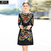 High Quality 2018 New Autumn Winter Women Runway Dress Fashion Woman Long Sleeve Flower Cross Embroidery Casual Vintage Dresses