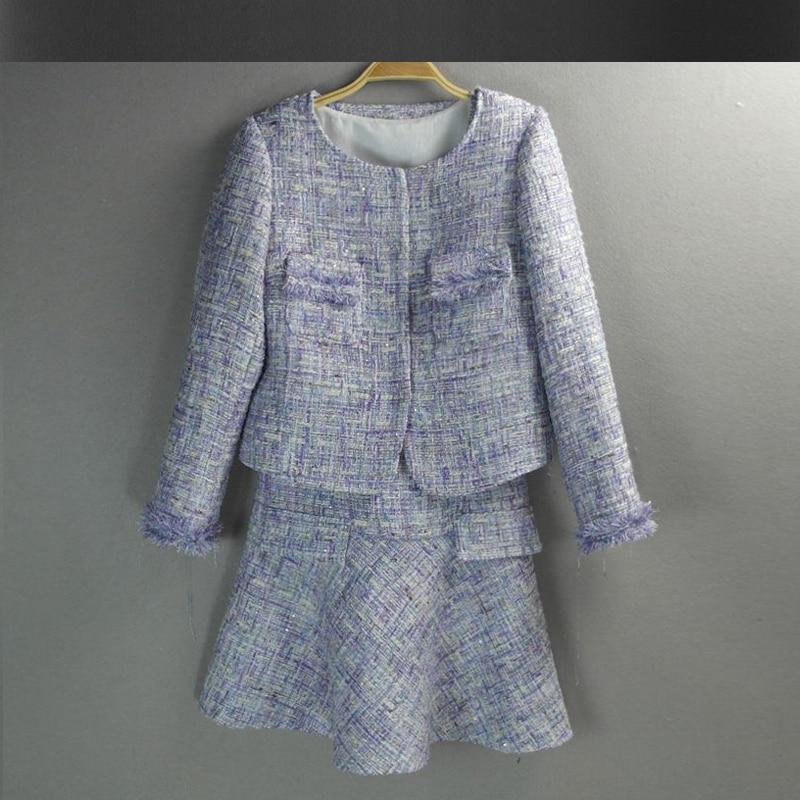 af22c65120ca Purple tweed jacket + dress suit 2017 spring   autumn women jacket new  ladies dress suit 2 piece dress Women