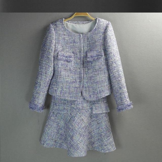 Purple Tweed Jacket Dress Suit 2017 Spring Autumn Women Jacket