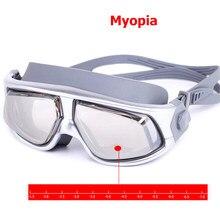 Óculos de natação anti-embaçamento, óculos à prova d'água para dioptria, para adultos e mulheres, óculos polarizados para natação