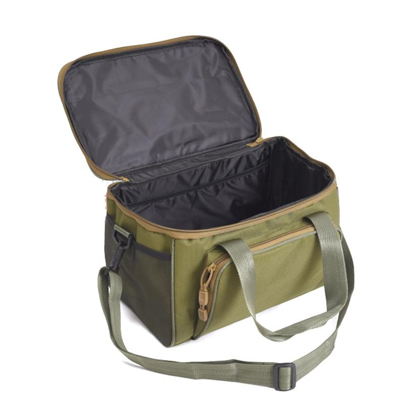 Fishing Tackle Bag Multifunctional Waterproof Oxford Canvas Tool Bag Accessory Fishing Bait Bag For Outing Camping Army Green