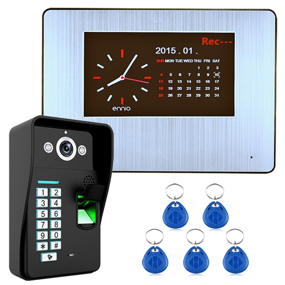 "7"" Lcd  Recording HD 1000TVL DVR Fingerprint Recognition Video Door Phone Intercom System kit-in Video Intercom from Security & Protection"